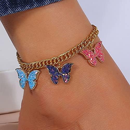 Ushiny Tobilleras bohemias con diseño de mariposa, color dorado, estilo punk y lentejuelas, para verano, playa, para mujeres y niñas