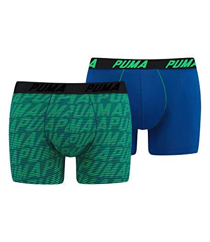 Puma Men Optical Logo AOP Boxershorts 2er Pack (XL, Blue/Green)
