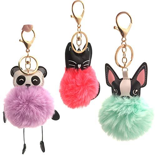 YuChiSX 3-delige meisjes roze flamingo pluche sleutelhanger Pom Poms sleutelhangers namaakbont sleutelhanger handtas draagtas Charm hanger sleutelhanger pluizige sleutelhanger eenhoorn sleutelhangers kettingen voor meisjes kinderen vrouwen