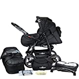 Bergsteiger Rio Kombikinderwagen + Softtragetasche + Wickeltasche (10 - Teile); Farbe: Black Edition