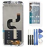 Hypak Pantalla IPS LCD para Xiaomi Mi A2 (Completa con Marco de Color Blanco) Incluye Protector de Pantalla y Herramientas VB