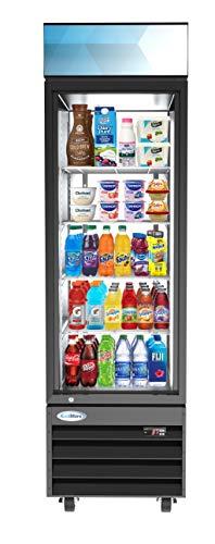 KoolMore - MDR-1GD-13C 23' Commercial Glass 1 Door Display Refrigerator Merchandiser - Upright Beverage Cooler with LED Lighting - 13 Cu. Ft, Black