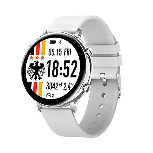 QAZPL Reloj Inteligente, Pantalla de 1.28 Pulgadas, rastreador de Fitness, Pulsera de podómetro Deportivo, Llamada de Bluetooth/Música/cámara, Multi-dial, Mensaje, recordatorio Inteligente, IP68 i