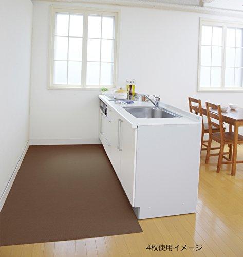 サンコー 洗えるロングキッチンマット ズレないおくだけ吸着 はっ水 60×240cm ブラウン KL-48(日本製 240)
