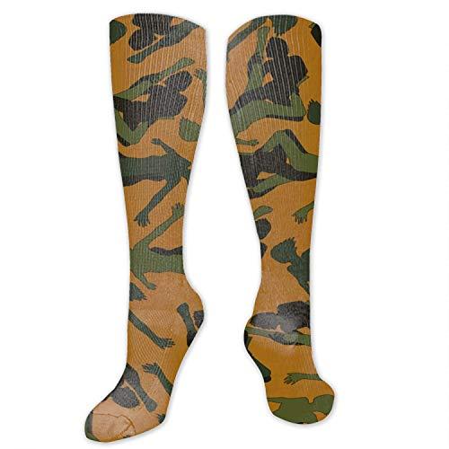 Chaussettes de compression géométriques, idéales pour homme et femme, pour la course, le vol, les voyages, les fêtes