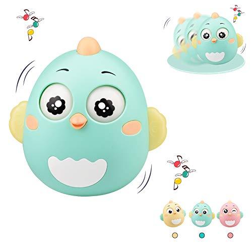 Lanero Roly Poly Stehaufmännchen Spielzeug für Babys und Neugeborene Beißring Spielzeug mit Glocke Wackelpuppe originelles Lernspielzeug (Grün)