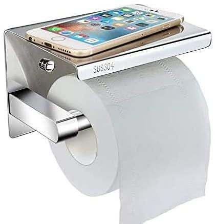 Toilettenpapierhalter Ohne Bohren mit Ablage, Telgoner klorollenhalter Selbstklebend SUS304 Edelstahl WC Rollenhalter Wandhalterung Klopapierhalter wc Papier Halterung