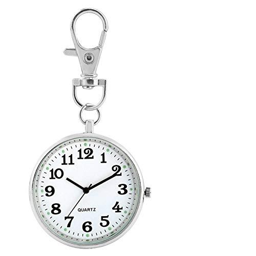 WOAIXI Retro Taschenuhr,Leuchtende Display Schlüsselanhänger Krankenschwester Tasche Uhren Quarzwerk Arabische Ziffern Anhänger Uhr Geschenke Für Krankenschwester Arzt, Silber