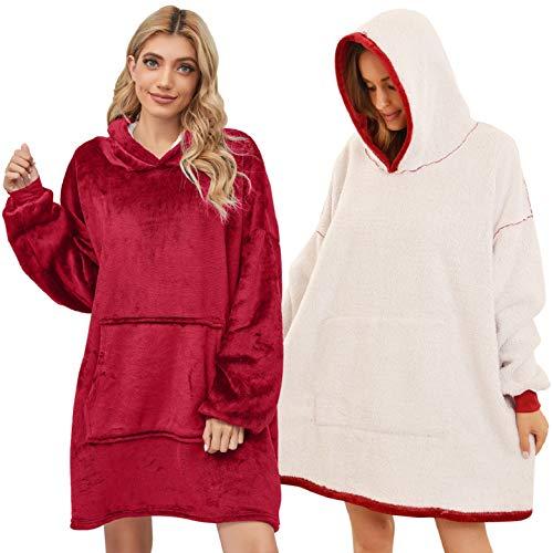UMIPUBO Oversized Hoodie Sweatshirt Blanket TV Decke Kapuzenpullover Kombination aus Flausch-Pullover und Kuscheldecke mit Großer Fronttasche für Männer Frauen (Rot)