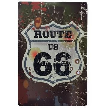 Ruta 66 Decoracion Pared  Placa Decorativa Vintage Route Cartel Chapa