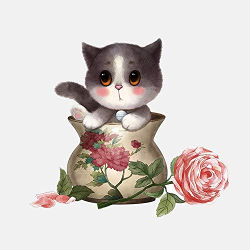 XCWQ Sticker voor de wagen, 14,3 cm x 12,9 cm, schattige kat, verstopt in een vaas van PVC Oro rosa + oro rosa