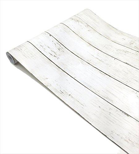 簡単 模様替え 壁紙 貼付シールタイプ 45cm×10m ウォールステッカー 防水 【貼り方説明書付】 (木目ホワイト板柄)