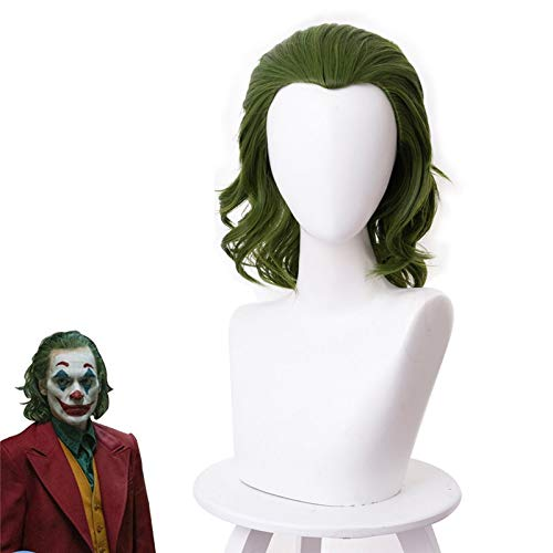 Pelcula The Joker disfraz payaso Batman Joker Cosplay peluca Joaquin Phoenix Arthur Fleck pelo sinttico verde rizado para Halloween Ks405J