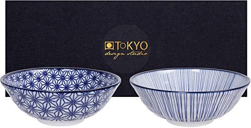 teeblume Tokyo Design Studio Nippon Blue 2-er Schalen-Set blau-weiß, Ø 21 cm, ca. 1000 ml, asiatisches Porzellan, Japanisches Design mit blauen Mustern, inkl. Geschenk-Verpackung