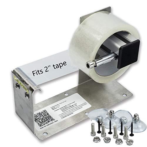 LDS Industry TTD-02 - Dispensador de etiquetas para mesa de escritorio de 2 pulgadas, marco de acero inoxidable con ventosa
