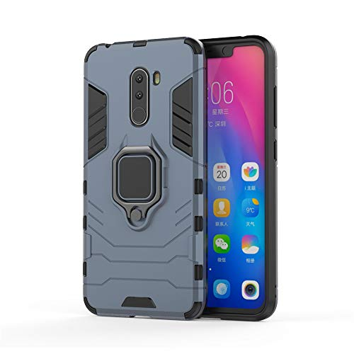 Xiaomi Pocophone F1 Funda, MHHQ 2in1 Armadura Combinación A Prueba de Choques Heavy Duty Escudo Cáscara PC + TPU con Soporte Magnetic Car Mount Case Cover para Xiaomi Pocophone F1 -Black Plus Gray