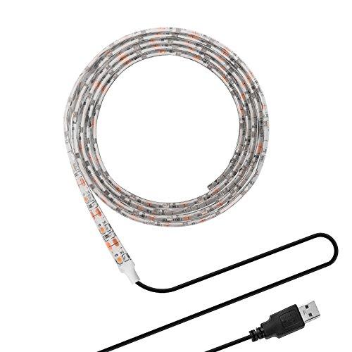 ONEVER DC 5V SMD 3528 Tiras LED con Cable USB para TV Ordenador Ordenador Escritorio Portatil Fondo Decorativo Iluminación (3528 100CM, Blanco Cálido)