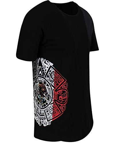 ShirtBANC Mayan Calendar Mens Hipster Long Drop Cut Tail Shirts Side Print (XL, Flag)