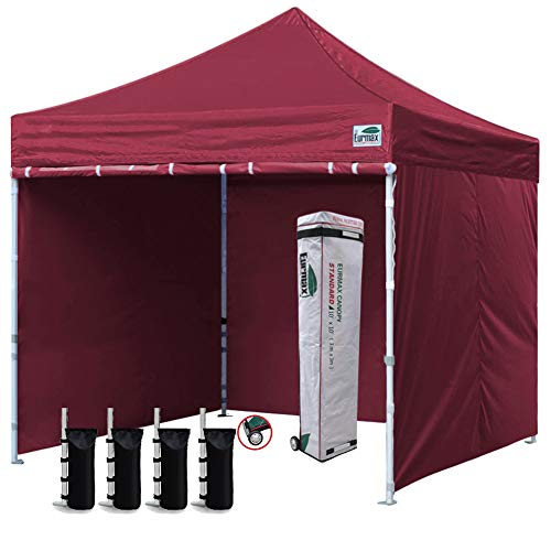 Eurmax 10'x10' Ez Pop-up Canopy Tent with 4 Removable Side Walls and Roller Bag, Bonus 4 SandBags, Burgundy