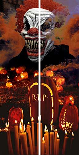Decoración de Halloween Cortinas Pack de 2 uds de 50x200 cm Tela Decorada (PAYASO ASESINO)