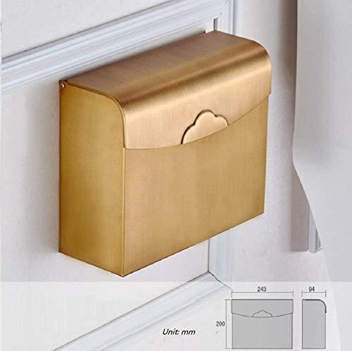 RYP Boîte de Papier de Toilette de cuivre Poli à la Main de décoration de Maison, imperméable à l'eau, résistant à la Corrosion, Support de Papier hygiénique Robuste, boîte à mouchoirs de Haute quali