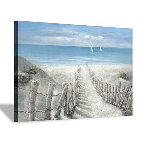 "Abstract Beach Path Artwork Picture: Coastal Painting Ocean Canvas Wall Art for Living Room (45"" x 30"" x 1 Panel)"