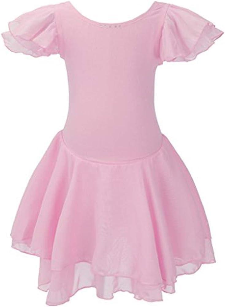 Meeyou Little Girls' Flower Ovelay Ballet Tutu Dress (6X, Pink Basic Stytle)