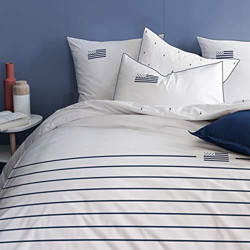 MATT & ROSE Gwennhadu Bretagne Parure de lit Housse de Couette 240 x 220 cm + 2 Taies d'oreillers 63 x 63 cm 100% Coton 47244 Blanc