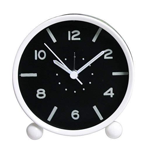 Machinery Parts Wghz - Reloj despertador redondo pequeño clásico, fluorescente, luminoso, silencio