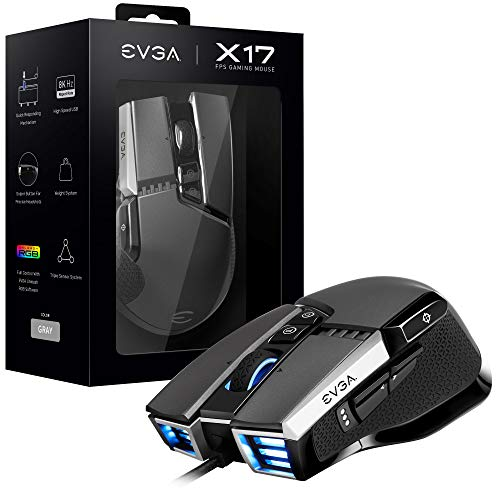 EVGA X17 Gaming Mouse, Wired, Grey, Customizable, 16,000 DPI, 5 Profiles, 10 Buttons, Ergonomic 903-W1-17GR-KR