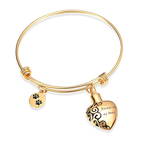 Alway in my heart expandable cuffCremation Bracelet for Ashes Dog Cat Paw Prints Pet Memorial Urn Jewelry  (Gold)