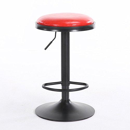 Kruk Counter Barkruk 60CM Tall Stool Artificia Leather Iron Art Stool Round Breakfast Bench, in hoogte verstelbaar, White 415 (Color : Red)