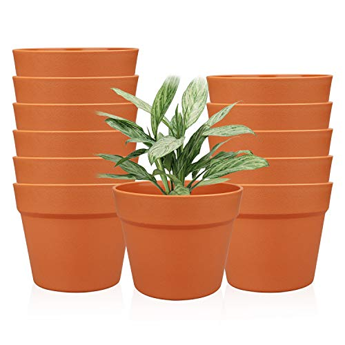 63 Inches / 12 pcs Plastic Plant Pots Gardening Containers Planters Perfect for Indoor and Outdoor Decoration/Garden/Kitchen/Flower/Succulents Yellow