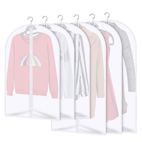 AIDBUCKS Kleidersäcke 6 Stücke Kleiderhülle Anzughülle - Langzeitaufbewahrung Von Jacke Mantel Kleider Anzug Schutz Vor Staub Motten Schäden Durchsichtiger Kunststoff 3x120x60cm 3x100x60cm