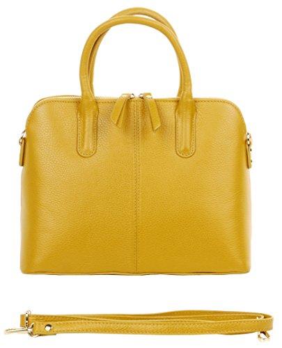 Primo Sacchi ® Italian texturiertes Leder gelb handgemachte Bowling Stil Handtasche Tote Grab Tasche oder Schultertasche. Beinhaltet einen Markenschutz-Aufbewahrungsbeutel