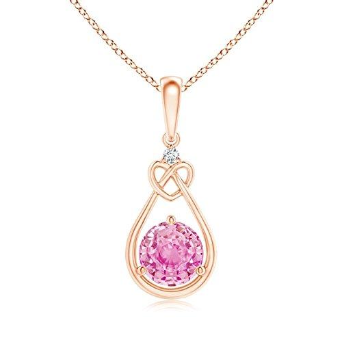 Ciondolo a forma di cuore con zaffiro rosa e diamante (6 mm zaffiro rosa) e Oro rosa, cod. ANG-P-SP1085PSD-RG-A-6