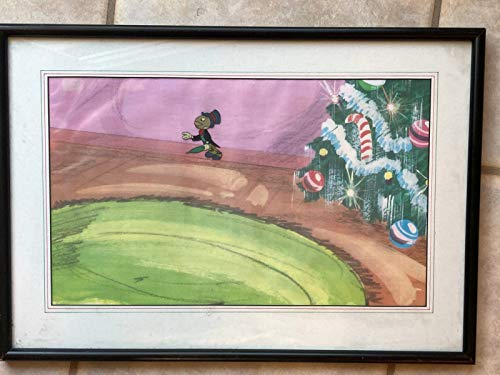 JIMINY CRICKET'S CHRISTMAS (1954-TV) an original Gouache on full celluloid for the Disney TV show 'MAGICAL WORLD OF DISNEY' depicts Jiminy Cricket applied to copy of a background. This artwork is professionally matted and framed with glass. Overall frame size is 14' x 20', the art measures 9 1/2' x 15', and the original Jiminy Cricket cel measures 2 1/4 x 1 3/4'. Very nice original Disney art in perfect condition, ready for display.