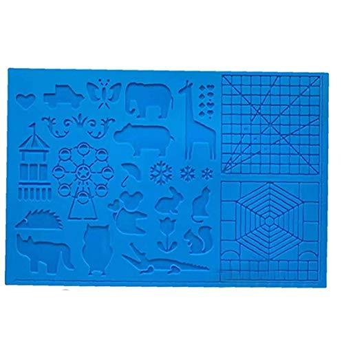 Hiinice Silikon-zeichenbrett 3D Pen Mat 3D Pen Stencils Buch 3D-Pen-zeichentools Blau Praktische Werkzeuge