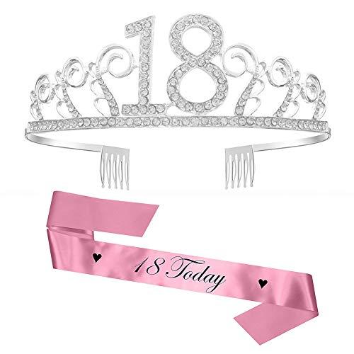 Feliz Cumpleaños 18TH,18th Plata Cristal Tiara Corona de Cumpleaños, Banda de Satén Brillante 18 Today, Regalo de 18 Cumpleaños