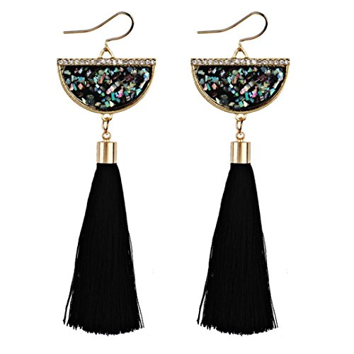 Fossrn Pendientes Mujer Largos Flecos, Pendientes Mujer Baratos Vintage Bohemia Pendientes de Gota borla (Negro)