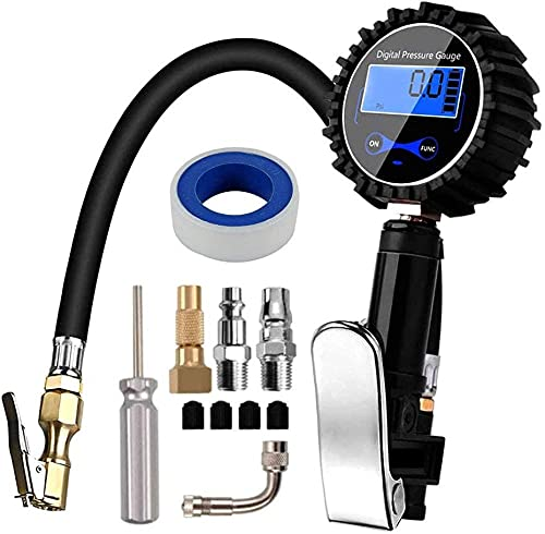HUIHUIGE Digital Tyre Pressure Gauge 200 PSI Tire Pressure Gauge with LCD Display and LED Light Inflation Gun for Car Motorcycle Truck Bicycle 1/4 NPT Gorgeous