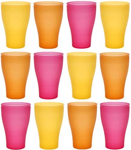 idea-station Neo Verres Plastique 12 Pieces, 450 ML, édition d'été, réutilisables, gobelet, Verre, Tasse en Plastique, Vaisselle, Enfant, Bebe, Camping, a Eau, Whisky, Cocktail