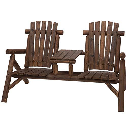 Outsunny Gartenbank mit Tisch, Gartenmöbel, Sitzbank, 2 Stühle, Massivholz, Braun, 156 x 83 x 95 cm