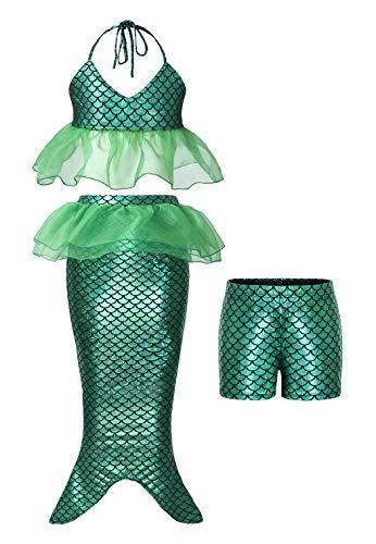 AmzBarley Princesa Ariel Sirenita Bañador Disfraz Cumpleaños,3 Piezas Sirena Traje de Baño Bikini Set para Niña Meirmaid Swimsuit Swimwera Muchschas Chicas Verano Nadar Natación Ropa,80/5-6 Años