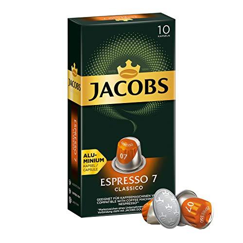 Jacobs Kaffeekapseln Espresso Classico, Intensität 7 von 12, 10 Nespresso®* kompatible Kapseln, 1er Pack (1 x 52 g)
