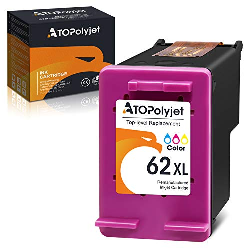 ATOPolyjet 62XL 62 remanufacturado Compatible con HP 62 XL para Officejet 5740 5742 5744 5745 5746 eAIO Officejet 8040 8045 eAIO (América) Envy 7640 7645 8000 8005 5640 5642 5643 5644 5646 5660 5665