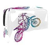 Beauty Case da viaggio motociclette Valigetta per Cosmetici Borsa Organizzatore Lavabile da Viaggio per Truccatrici con Settori 18.5x7.5x13cm
