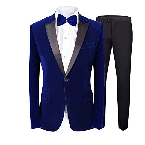MAGE MALE Men's 2-Piece Suit Velvet Blazer Party Tuxedo Slim Fit One Button Stylish Dinner Jacket & Pants & Bow Tie (Blue 1, Medium)