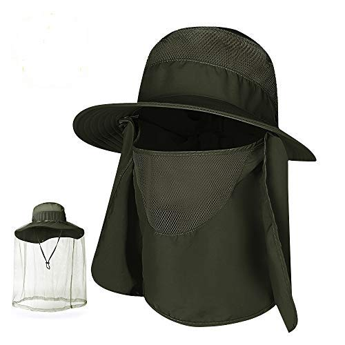 COPOZZ Fishing Hat,Men Women Sun Hat with Removable Mosquito Net,Face Neck Flap Army Green