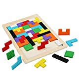 shenlanyu Rompecabezas de los niños colorido de madera tetris rompecabezas juguetestangram cerebro teaser juguetes juego preescolar magination intelectual educativo niño juguete